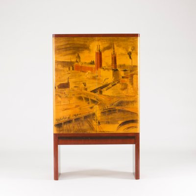 Cabinet By Gustaf Axel Berg With Artwork By Isaac Grunewald