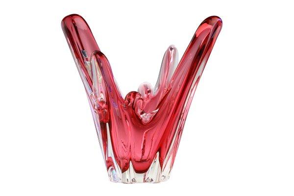 Italienischer mid century tafelaufsatz aus pinkem murano glas von