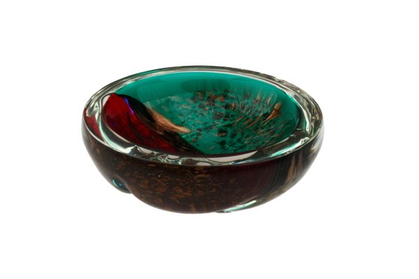 Murano Rot ~ A große buntglas schale murano rot blau nr