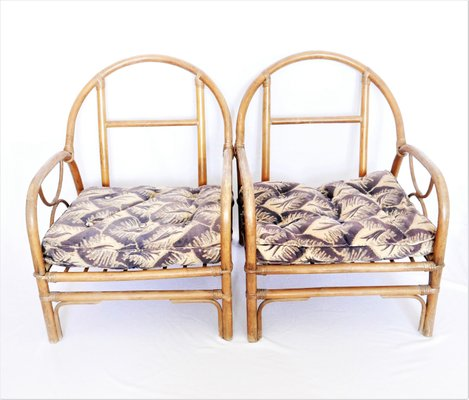 Vintage French Bamboo Lounge Chairs, Set Of 2 13