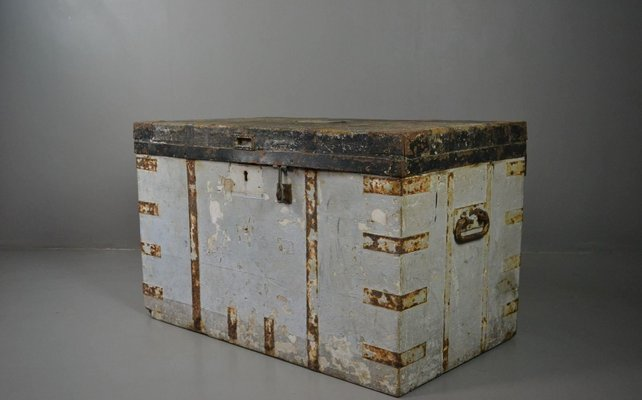 Edwardian (1901-1910) Antique Industrial Style Steel Deed Box Be Friendly In Use Antiques