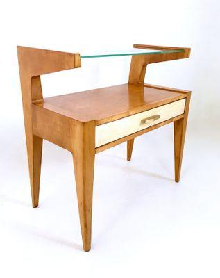 Comodini in legno di acero e pergamena, anni \'50, set di 2 in ...