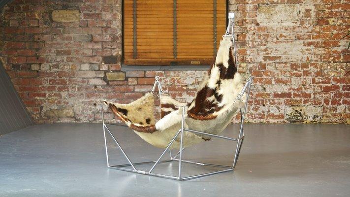 Vintage Sculptural Metal And Cowhide Sling Lounge Chair 2