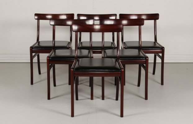 cc9d54b7675f Vintage Danish Rungstedlund Mahogany   Leather Chairs by Ole Wanscher for  Poul Jeppesen