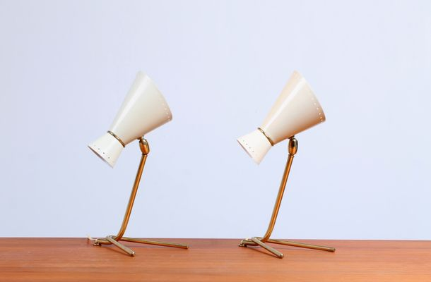 Mid Century Brass Tripod Diabolo Table Lamps For Sale At Pamono