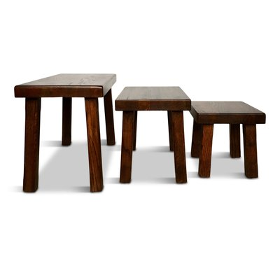 Tremendous Vintage Solid Oak Nesting Tables Or Benches Set Of 3 Uwap Interior Chair Design Uwaporg