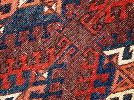 Antiker Handgefertigter Turkmenischer Yomud Teppich 1880er Bei