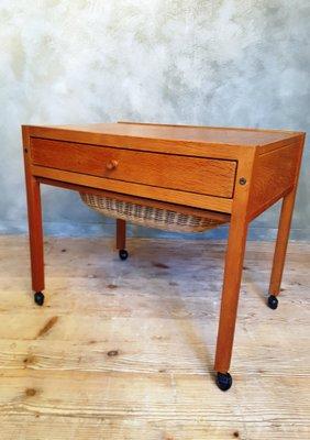 Sewing Table On Wheels.Vintage Danish Modern Sewing Table On Wheels