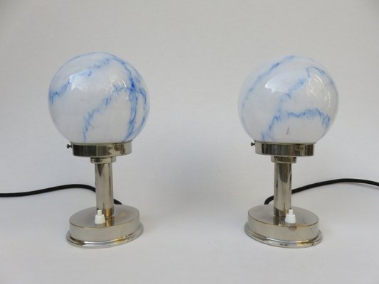 Genial Vintage Small Art Deco Table Lamps From FM, Set Of 2 1