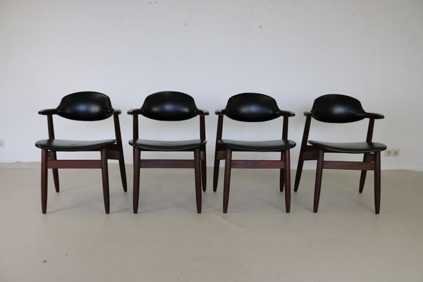 Dutch Cowhorn Dining Chairs by Tijsseling for Hulmefa Nw-Pekela Holland 1960s Set & Dutch Cowhorn Dining Chairs by Tijsseling for Hulmefa Nw-Pekela ...