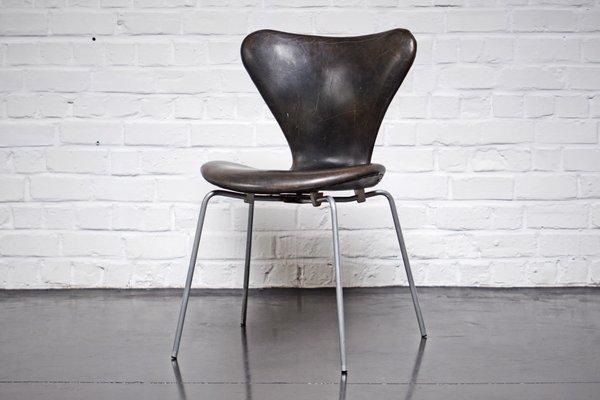 Dänischer 3107 Stuhl Aus Leder Von Arne Jacobsen Für Fritz Hansen
