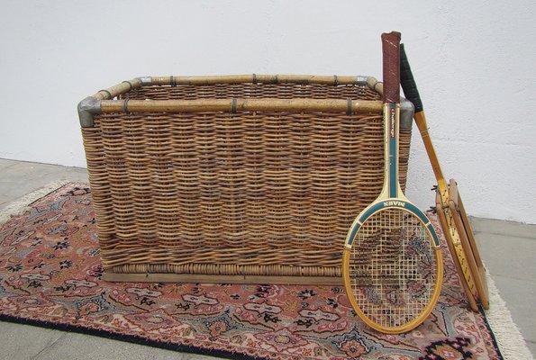 Large Wicker Laundry Basket, 1950s 2
