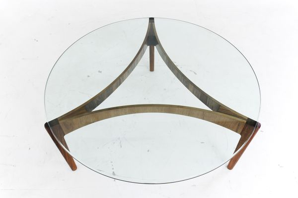 Danish Rosewood And Glass Coffee Table By Sven Ellekaer For Chr