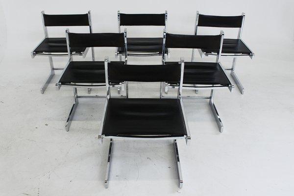 Mid Century Modern Esszimmerstühle Aus Chrom 6er Set Bei Pamono Kaufen