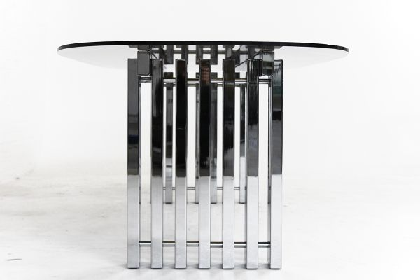 Mid-Century Modern Chrome and Glass Dining Table, 1970s