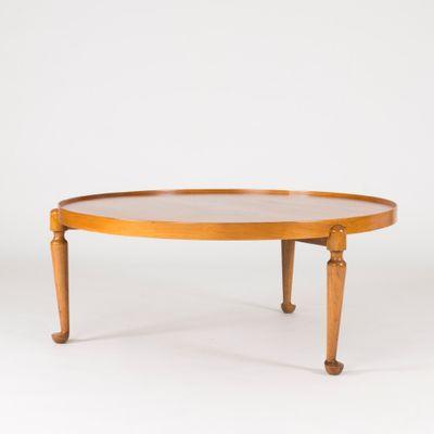 Mid Century Swedish Round Walnut Coffee Table By Josef Frank For Svenskt  Tenn 1