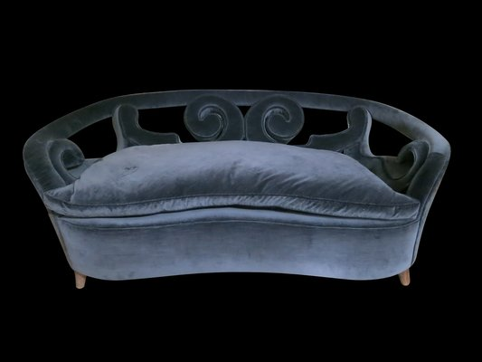 Ordinaire Italian Mid Century Two Seater Sofa With A Curved Back 1