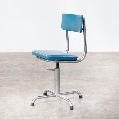 De Avec Structure Chaise Bureau Skai Bleu Blanche1960s Petite En SVpUGzMLq