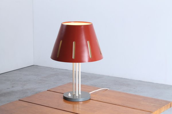 Large Sun Series Red Table Lamp By H Th J A Busquet For Hala 1