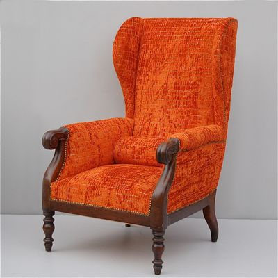 Vintage Italian Wingback Chair With Mahogany Frame 1