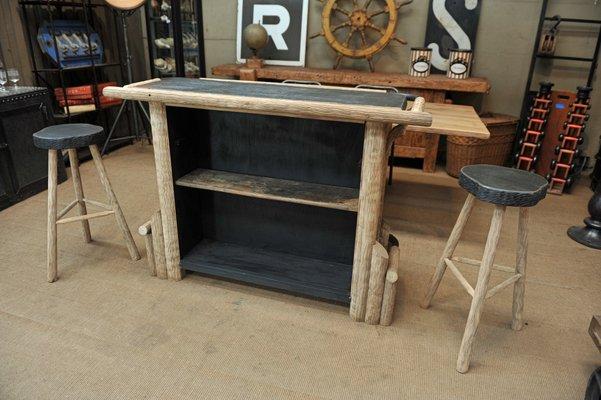 Bancone bar vintage con sgabelli in quercia anni in vendita