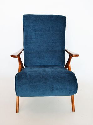 Beech And Velvet Armchair By Antonio Gorgone, 1950s 17