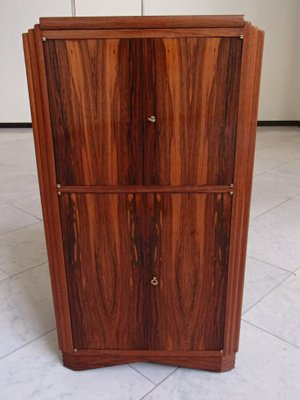 Art Deco Bar Mahogany Cabinet With Mirrored Top 1