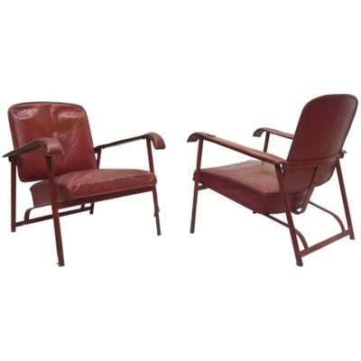 Fantastic Vintage Leather Lounge Chairs By Jacques Adnet Set Of 2 Ibusinesslaw Wood Chair Design Ideas Ibusinesslaworg