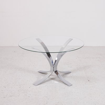 Vintage Gl Top Coffee Table With Chrome Plated Base 1
