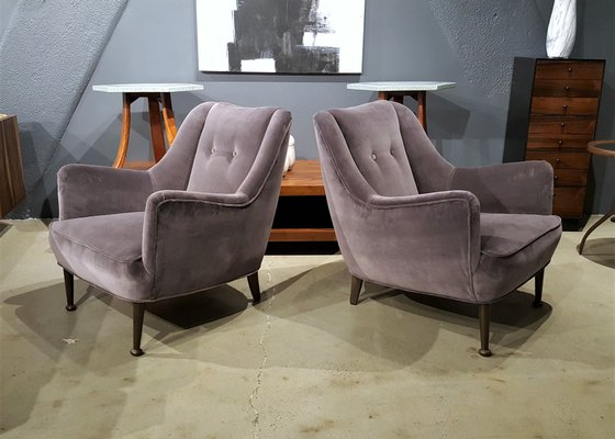 Mid Century Modern Lounge Chairs In Deep Lilac Gray Velvet Set Of 2