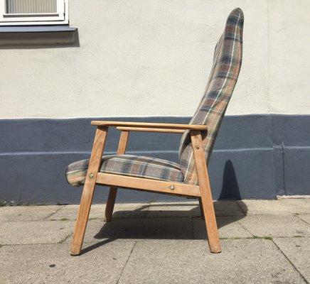 Danish Highback Checkered Wool U0026 Oak Easy Chair From Getama, ...
