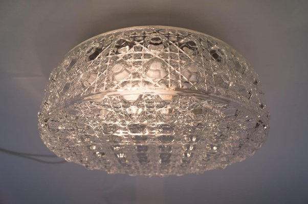 Large Bubble Glass Wall Lamp with Geometric 3D Patterns, 1960s