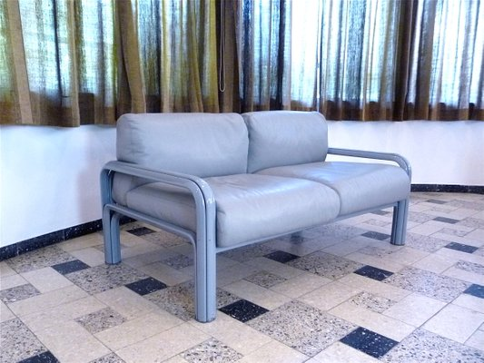 Two-Seater Leather Lounge Sofas by Gae Aulenti for Knoll International,  1970s, Set of 2