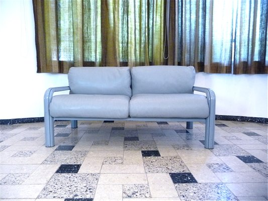 Two-Seater Leather Lounge Sofas by Gae Aulenti for Knoll ...