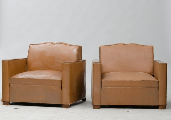 Vintage French Faux Leather Armchairs, Set Of 2 1