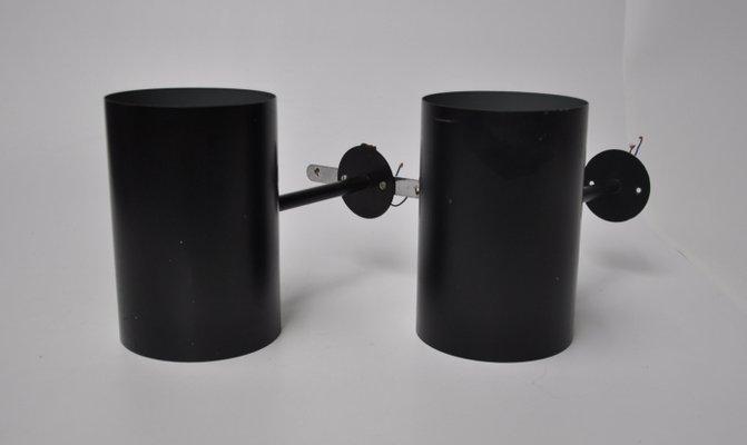 Applique vintage in metallo nero di friis & moltke per lyfa set di