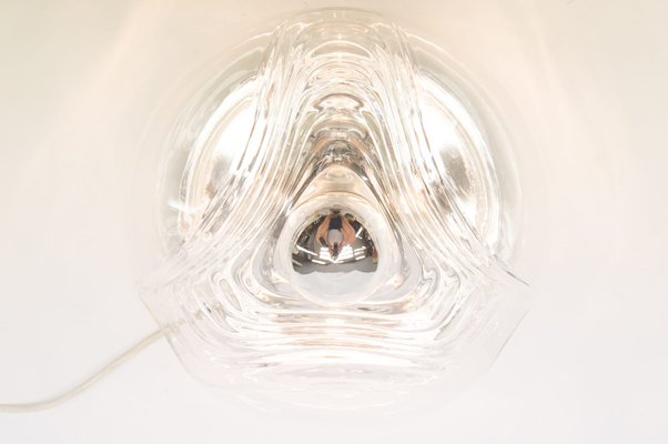 Applique wave vintage in vetro chiaro di koch & loewy per peill
