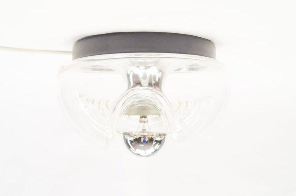 Petite applique wave vintage en verre transparent par koch & loewy