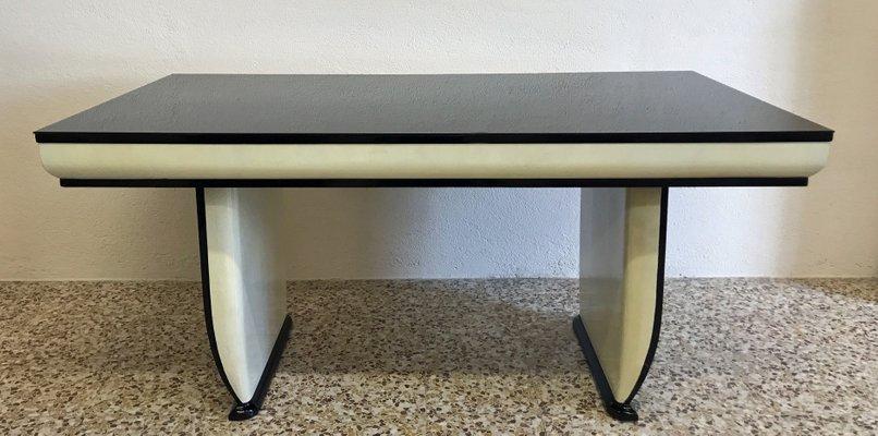 Italienischer Tisch Im Art Deco Stil Mit Schwarzer Glasplatte