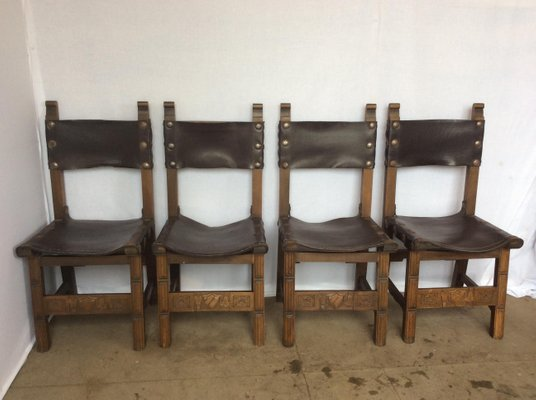 Oak And Leather Sling Chairs, 1920s, Set Of 4 1
