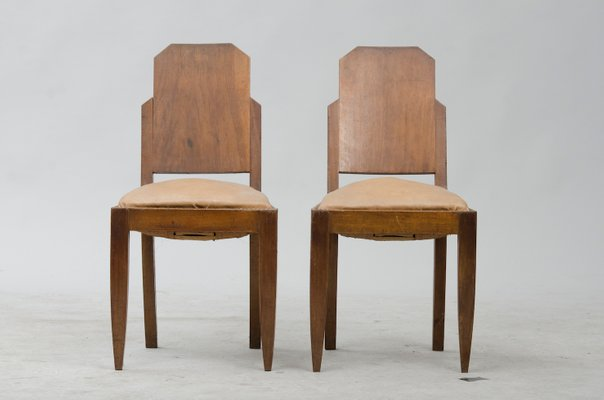 Vintage Art Deco Dining Chairs Set Of