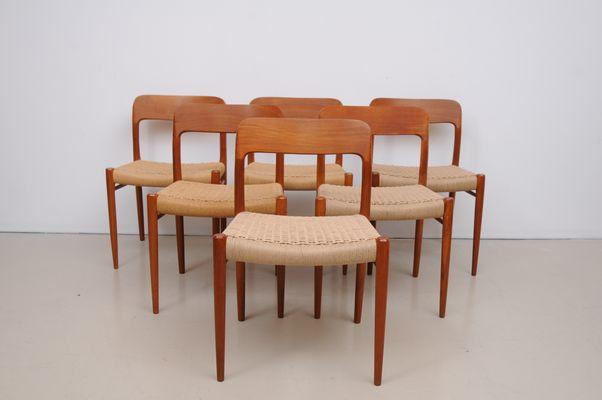 Charmant Danish Teak Chairs Mod. 75 By Niels Møller For J.L. Müller, 1950s, Set