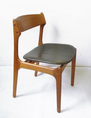 best sneakers 8bc1f fd276 Vintage Teak Dining Chair with Genuine Leather by Erik Buch for O.D.  Møbler, 1957