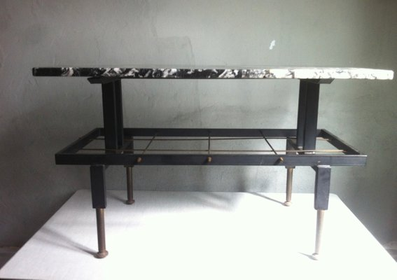 Mid Century Spanish Iron And Marble Coffee Table U0026 Magazine Rack, ...
