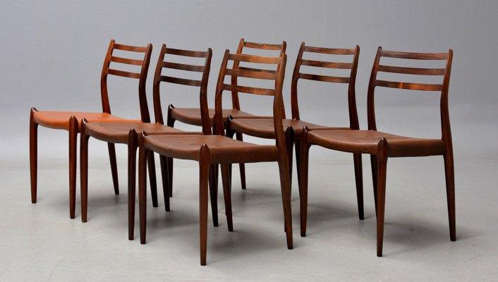 Chaise de Salon Modèle 78 en Palissandre et Cuir par Niels Møller ...