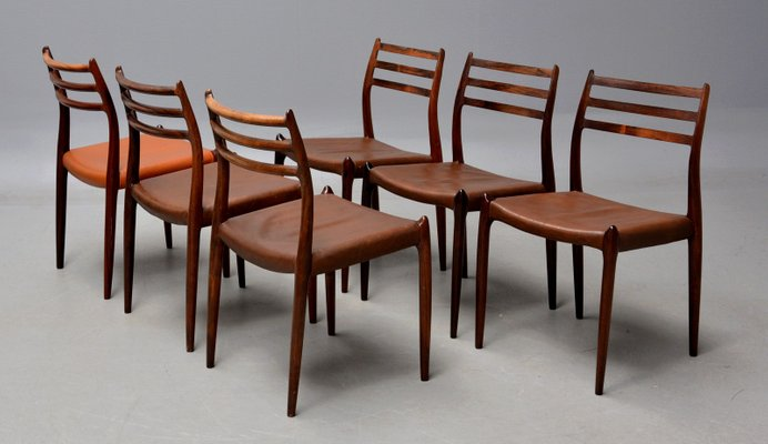 Model 78 Rosewood & Brown Leather Dining Chair by Niels Møller for J.L.  Møllers, 1960s