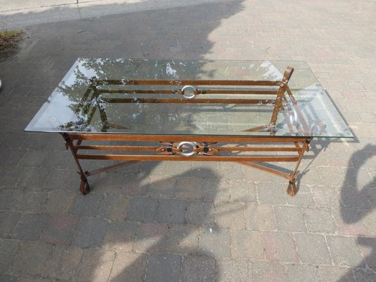 Vintage Wrougt Iron And Leather Coffee Table For Sale At Pamono - Wheelbarrow coffee table