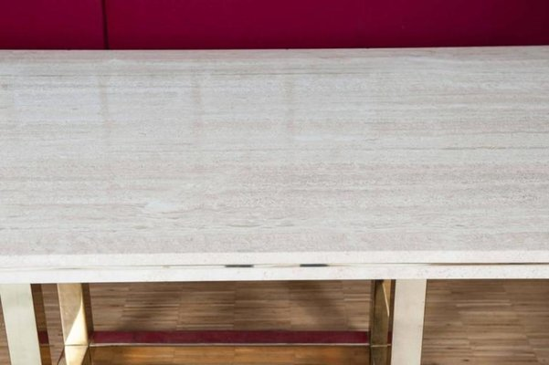 Vintage Dining Table With Br Base And Travertine Top