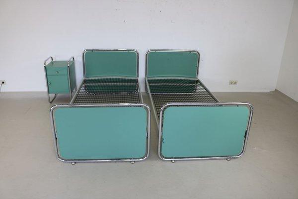 Set da camera da letto vintage in metallo cromato tubulare