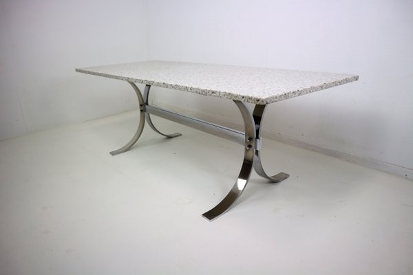 Vintage Granite U0026 Chrome Coffee Table 1